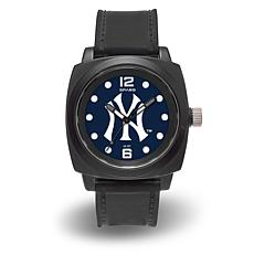 "MLB Sparo Team Logo ""Prompt"" Black Strap Sports Watch - Yankees"