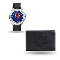 MLB Team Logo Watch and Wallet Combo Gift Set in Black - Mets
