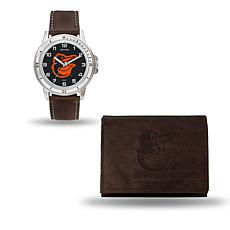 MLB Team Logo Watch and Wallet Combo Gift Set in Brown - Orioles