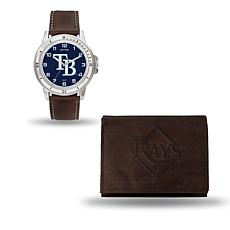 MLB Team Logo Watch and Wallet Combo Gift Set in Brown - Rays