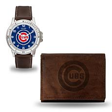 MLB Team Logo Watch and Wallet Combo Gift Set in Brown - Cubs