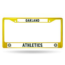MLB Yellow Chrome License Plate Frame - A's