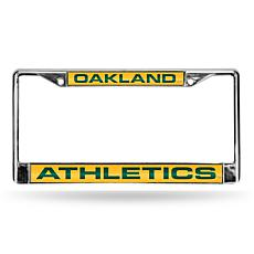 MLB Yellow Laser-Cut Chrome License Plate Frame - A's