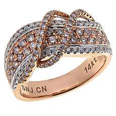 Modani Jewels 14K Gold 1.02ctw Pink and White Diamond Crossover Ring