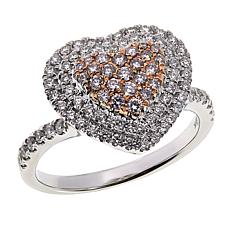 Modani Jewels 14K Gold .75ctw Pink and White Diamond Heart Ring