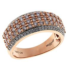 Modani Jewels 14K Rose Gold .98ctw Pink and White Diamond Band Ring