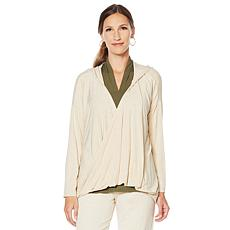 ModernSoul® Bamboo Jersey Open Twist-Front Hooded Tunic