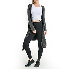 Mono B Black Back Yoke Open Front Longline Cardigan