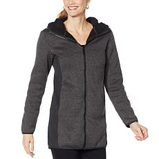 Mono B Charcoal Longline Hoodie Jacket w/ Block Panel and Inner She...