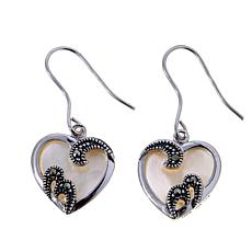 Mother-of-Pearl & Marcasite Sterling Silver Heart-Shaped Drop Earrings