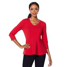 Motto Contour-Seamed V-Neck Peplum Top - Fashion