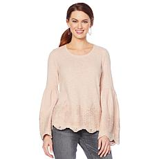 Motto Crochet Lace Bell-Sleeve Top