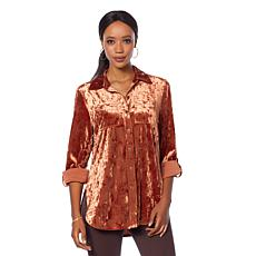 Motto Crushed Velvet Button-Down Boyfriend Shirt