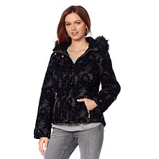 Motto Flocked Velvet Puffer Coat