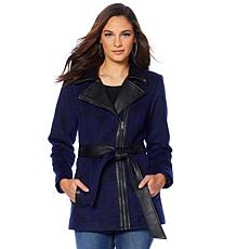 Motto Floral Jacquard Coat with Faux Leather Trim