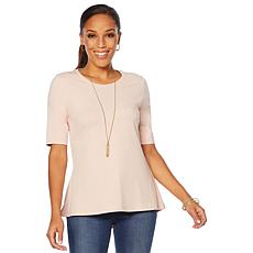 Motto Modern Knit Scoop-Neck Tee - Soft Colors
