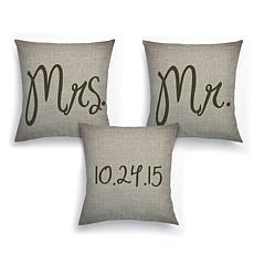 Mr. and Mrs. Personalized 3-Piece Pillow Set
