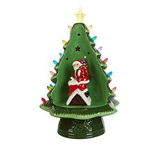 """Mr. Christmas 14"""" LED Ceramic Cut-Out Tree with Holiday Figure"""