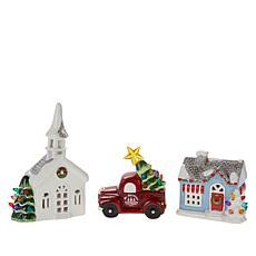 Mr. Christmas Nostalgic Ceramic Village - Set of 3