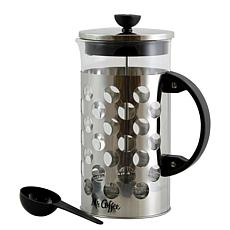 Mr Coffee Polka Dot Brew 32 oz Silver/Glass Coffee Press with Scoop