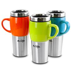Mr. Coffee Traverse 3 Piece 16 Ounce Stainless Steel and Ceramic Tr...