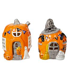 Mr. Halloween Set of 2 LED Pumpkin Village Houses with 6-Hour Timer