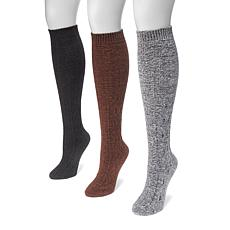 MUK LUKS 3-pair Women's Crosshatch Knee-High Socks