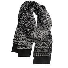 MUK LUKS Men's Pattern Scarf with Fleece Lining