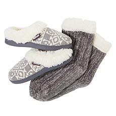 MUK LUKS Slipper and Chenille Cabin Sock Set