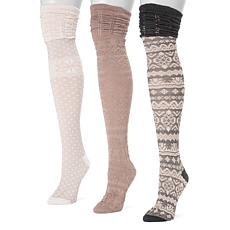 MUK LUKS Women's 3-pack Microfiber Over-the-Knee Socks