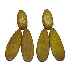 N Natori Acacia Wood Clip-On Drop Earrings