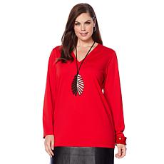 N Natori Double Knit Dress with Faux Leather Trim