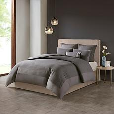 N Natori Hanae Cotton Blend 3-piece King Comforter Set - Gray
