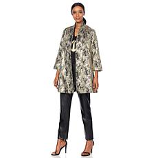 N Natori Metallic Jacquard Swing Jacket