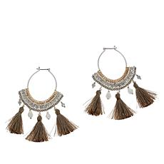 Nakamol Beaded Fabric Tassel Hoop Earrings