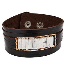 Nakamol Beaded Station Black Leather Bracelet