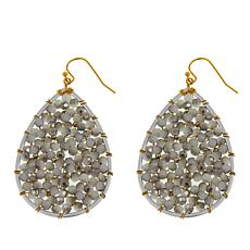 Nakamol Gray Bead Pear-Shaped Drop Earrings