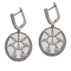 "Natalie Mills ""Audrey"" Silvertone Oval Drop Earrings"
