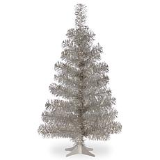 National Tree 3' Silver Tinsel Tree with Plastic Stand
