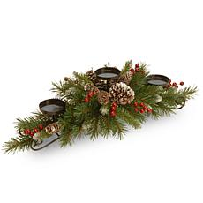 "National Tree 30"" Frosted Berry Centerpiece with 3 Candle Holders"