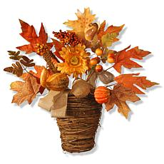 """National Tree Company 16"""" Basket with Pumpkins and Maple Leaves"""