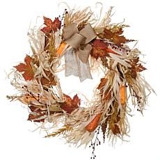 "National Tree Company 24"" Harvest Raffia Wreath with Maple Leaves"