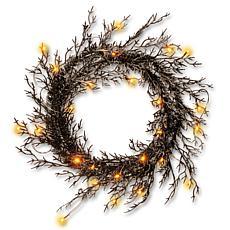 "National Tree Company 26"" Black Glittered Halloween Wreath with Lights"