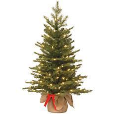 National Tree Feel Real® 3' Nordic Spruce Tree w Burlap Base & 50 LEDs