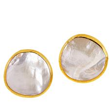 Natural Beauties Goldtone Sterling Silver Mother-of-Pearl Stud Earring
