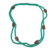 "Natural Beauties Green Coconut Shell and Buffalo Horn 80"" Necklace"