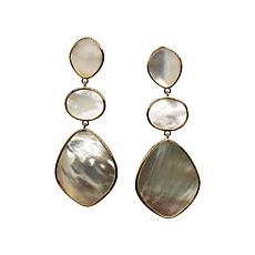 Natural Beauties Mother-of-Pearl 3-Tier Carved  Dangle Earrings