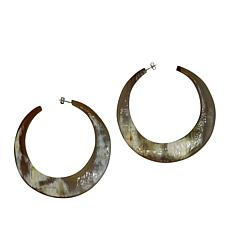 Natural Beauties Over-Sized Crescent Watusi Horn Hoop Earrings