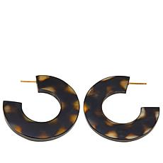 Natural Beauties Spotted  Buffalo Horn Hoop Earrings