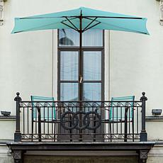 Nature Spring 9' Half-Canopy Patio Umbrella - Blue